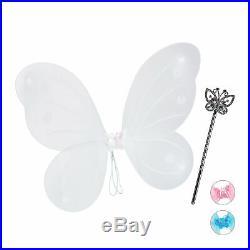 1 x Feenflügel weiß, Elfenkostüm mit Zauberstab, Fee Kostüm, Flügel, Zepter