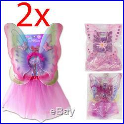 2 X Children Fairy Dress Up Set Birthday Party Fun Girls Wings Pink Fun Kids