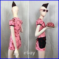 6 PC ZOMBIE WAITRESS COSTUME Set BLOODY Dead Pinup Soda Pop Girl Apron Hat OOAK