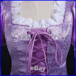 Adult Tangled Princess Rapunzel Cosplay Women Costume Fancy Dress Ball Gown Made
