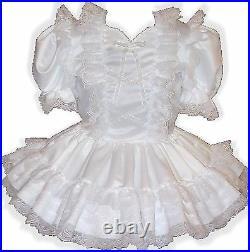 Angela CUSTOM Fit White Satin Lace Adult Little Girl Sissy Dress LEANNE