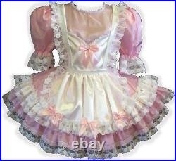 Anne CUSTOM Fit Pink & White Satin Bows Adult Little Girl Sissy Dress LEANNE