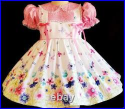 Annemarie-Adult Sissy Baby Girl Dress Bees and Butterflies Ready Ship