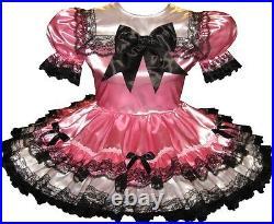 Ashlee CUSTOM Fit Pink & White Satin Bows Adult Little Girl Sissy Dress LEANNE