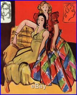 BOLD Henri MATISSE 1945 Vintage Color Print Girls in Fancy Dresses FRAMED COA