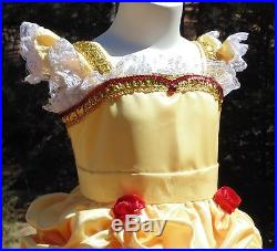 Belle princess dress up apron girls 4-5 halloween costume park vacation pictures