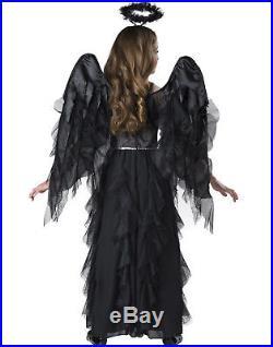 Black Gothic Fallen Angel Of Darkness Girls Halloween Costume