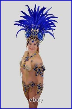 Blue Butterfly Brazilian Rio carnival SAMBA dance COSTUME BRA bikini/Show girl