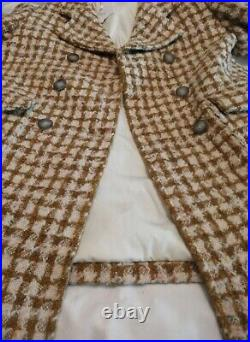 Bonpoint Double Breasted Wool Coat Girls Size 10yr Cream Brown RRP 360