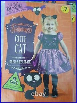 Brand New Wilko Kids Halloween Costumes Job Lot 23 Items Glitter Skeleton, cat