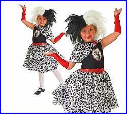 Child 101 DALMATIAN Cruella De Ville Girls Fancy Dress Costume or WIG Dalmation