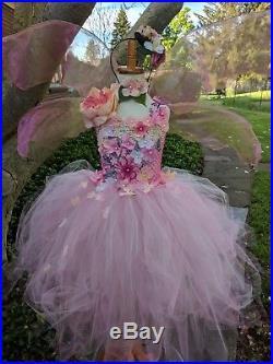 Couture pink fairy costume dress, pink flower girl dress, distress fairy dress