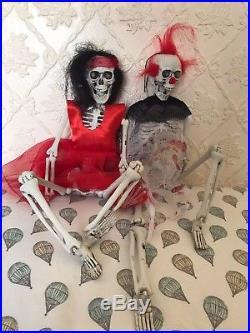 Crazy Fancy Dress Boy & Girl Hanging Skeleton Halloween Decoration Prop 45cm