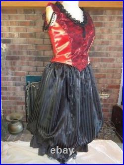 Custom Made Victorian style Saloon Girl Costume Satin Lace Taffeta Steampunk New