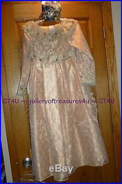DISNEY STORE AURORA Deluxue Child Dress 7/8 Medium Costume Gold Sleeping Beauty