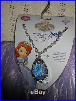 DISNEY STORE PRINCESS SOFIA THE FIRST GOWN COSTUME SIZE 5/6 & AMULET small NEW