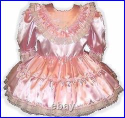 Darla CUSTOM Fit Pink Satin Ruffles Adult Little Girl Sissy Baby Dress LEANNE