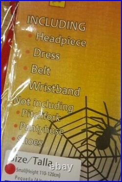 Devil Girl Fancy Dress Costume with Pitchfork Child Halloween Age 4-6