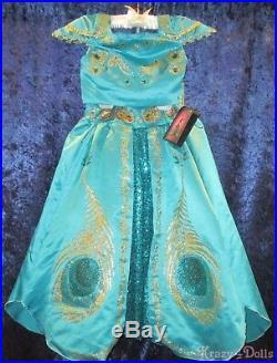Disney Designer Fairytale Princess Jasmine Deluxe Girls Costume Dress 7-8 New