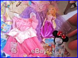 Disney Princess Huge Dress Up Lot Dresses Shoes Accessories Toys- Girls Sz 4-6