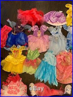 Disney Princess Huge Dress Up Lot Dresses Shoes Sleeping bag & Suitcase Sz 4-6
