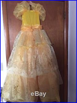 Disney Store Belle Costume Gown Dress Princess Girl Beauty and The Beast Sz 5/6