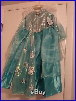 Disney Store Elsa Frozen Deluxe Costume Sequin Bodice Glittery Cape 5/6 NWT