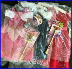 Disney Store Girls Size 3 Costumes Lot Aurora Elsa Elena Accessories New