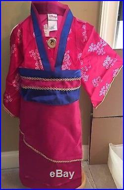 Disney Store Princess Mulan Dress Up Kimono Costume Size XS 4/5 NEW Crown Fan