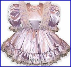 Donna CUSTOM Fit Lavender Satin Ruffles Adult Little Girl Sissy Dress LEANNE
