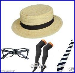 Fancy Dress School Girl Straw Boater Hat Black Socks+Tie Set Hen Girls Night Out