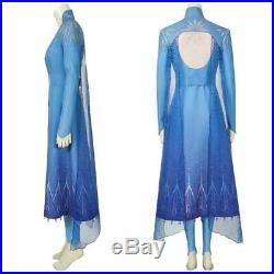 Frozen 2 Elsa Queen Princess Dress Cosplay Cloak Outfits Costume Halloween Party