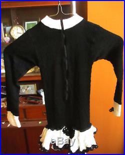 GIRLS SZ 10 Vtg 60s CABARET TUXEDO TAFFY'S Leotard Dance Sequined Costume