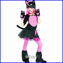 Girls Cheshire Cat Costume Kids Pink Cute Kitty Fancy Dress Halloween Outfit UK