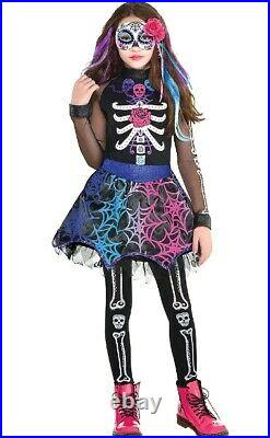 Girls Day of The Dead Sugar Skull Halloween Costume + Tights + Hair Clip