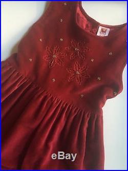 Girls Dress Sz 5-6-7-8 April Cornell Luxurious Red Wine Velvet Fancy Flower Girl