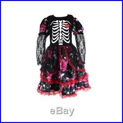 Girls Skeleton Costume Kids Halloween Fancy Dress Day Of The Dead Cosplay
