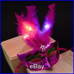 Girls Venetian EyeMask Fiber Mask Masquerade Fancy Dress Feather LED Fiber Masks