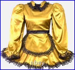 Gold Lace Cute Apron Maid Fully Lined Adult Little Girl Sissy Dress LEANNE