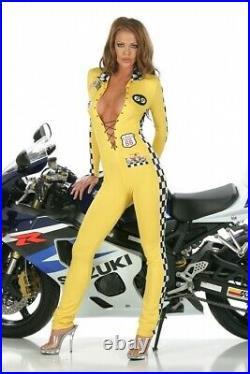 Grid Girl Rennfahrer Overall Anzug Racer gelb Gr. L 40-42 elastisch Fasching Karn