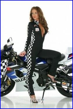 Grid Girl Rennfahrer Overall Anzug Racer schwarz Gr. L 40-42 elastisch Fasching