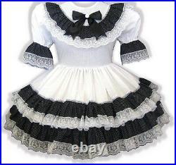 Jane CUSTOM Fit Black White Lacy Ruffles Adult Little Girl Sissy Dress LEANNE