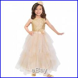 Karnevalskostüm Faschingskostüm Kleid Mädchen Amscan Prinzessin gold 5-7 Jahre