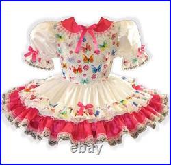 Katelyn CUSTOM FIT Satin BUTTERFLIES Adult Little Girl Sissy Dress LEANNE
