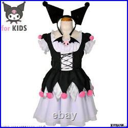 Kuromi Kids Cosplay Costume Sanrio Inner Dress Over-Dress Katyusha tail broach