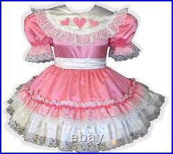 Leah CUSTOM Fit Pink Satin Hearts Ruffles Adult Little Girl Sissy Dress LEANNE