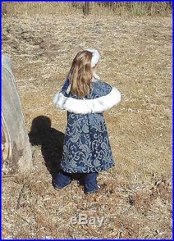 Little princess Girls 5-8 Historical Christmas Holiday Fur Winter Coat set 3