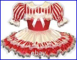 Louise CUSTOM Fit Red White Satin Stripes Adult Little Girl Sissy Dress LEANNE