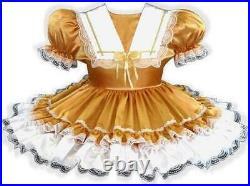 Margie CUSTOM Fit GOLD & WHITE SATIN Adult Little Girl Sissy Dress LEANNE