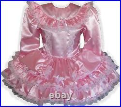 Melanie CUSTOM Fit Pink Satin Long Sleeve Adult Little Girl Sissy Dress LEANNE